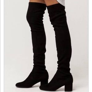Steve Madden over the knee black suede boots sz 7